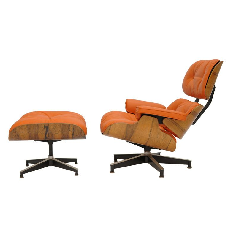 eames 670 and 671 lounge chair in hermes orange leather