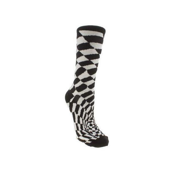 Vans CHECKERBOARD II CREW - Calcetines hasta la rodilla - black/white n6QjEGL