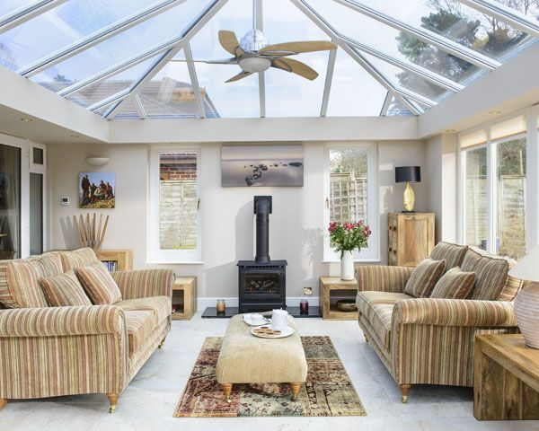 Anglian orangery with a full glass roof stunningly for Orangery lighting ideas