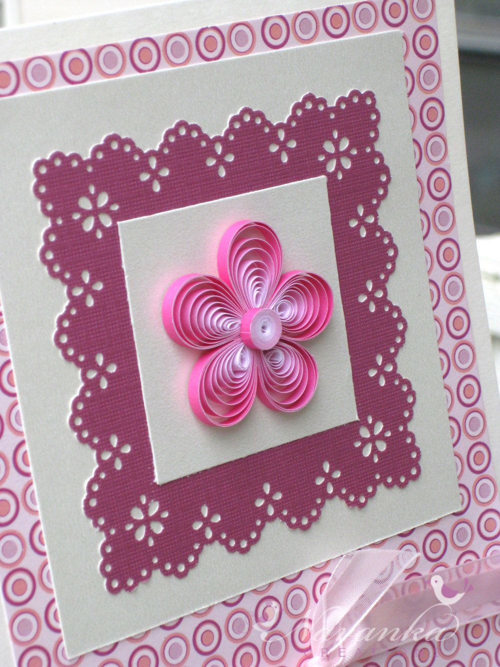 Beautiful Paper Quilling Greeting Card in shades of Pink