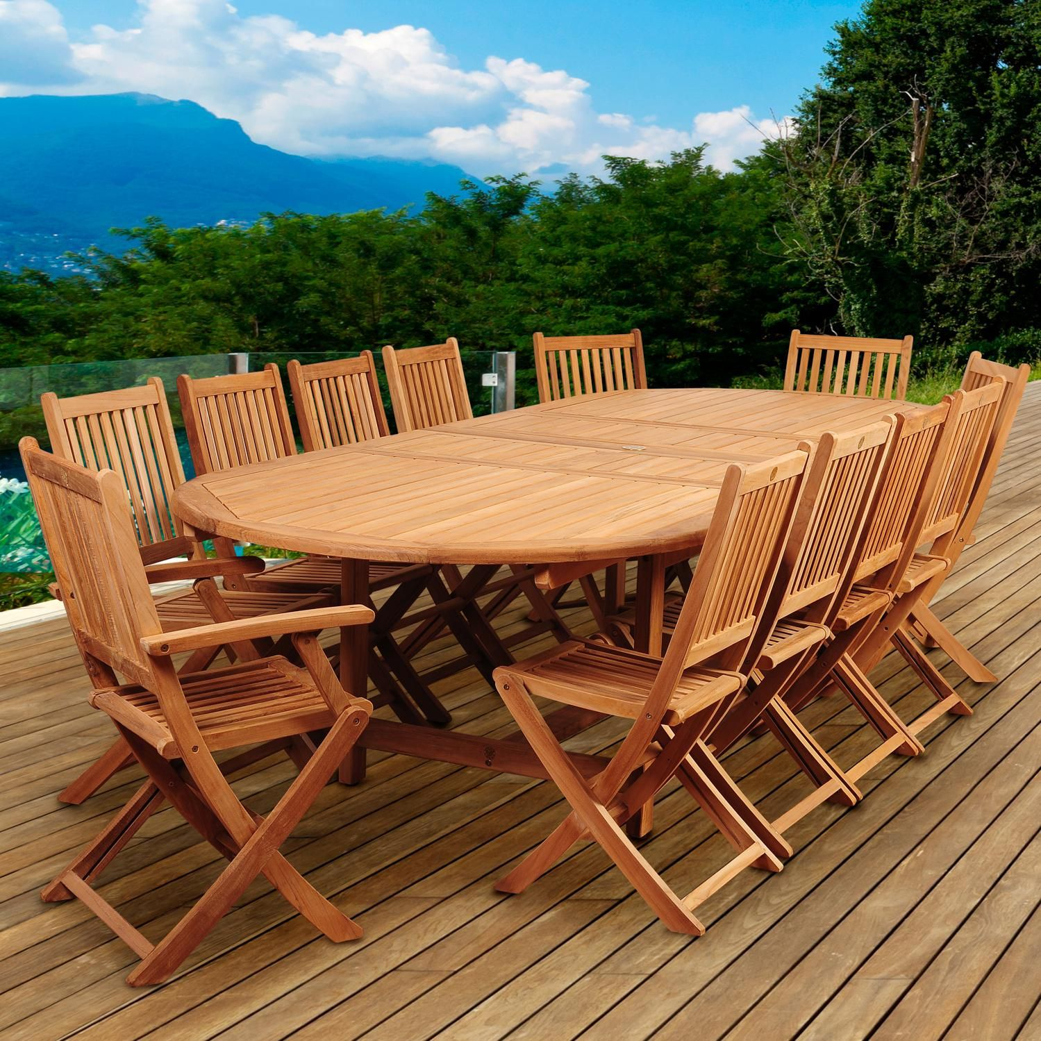 Astounding Highland Park 13 Piece Teak Patio Dining Set With Folding Uwap Interior Chair Design Uwaporg