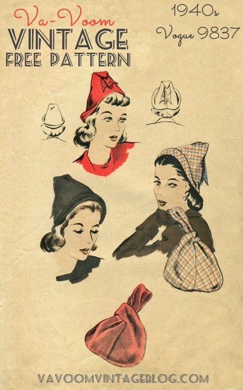 Free Sewing Pattern 1940s Vogue 9837 Hat And Bag Vintage Sewing