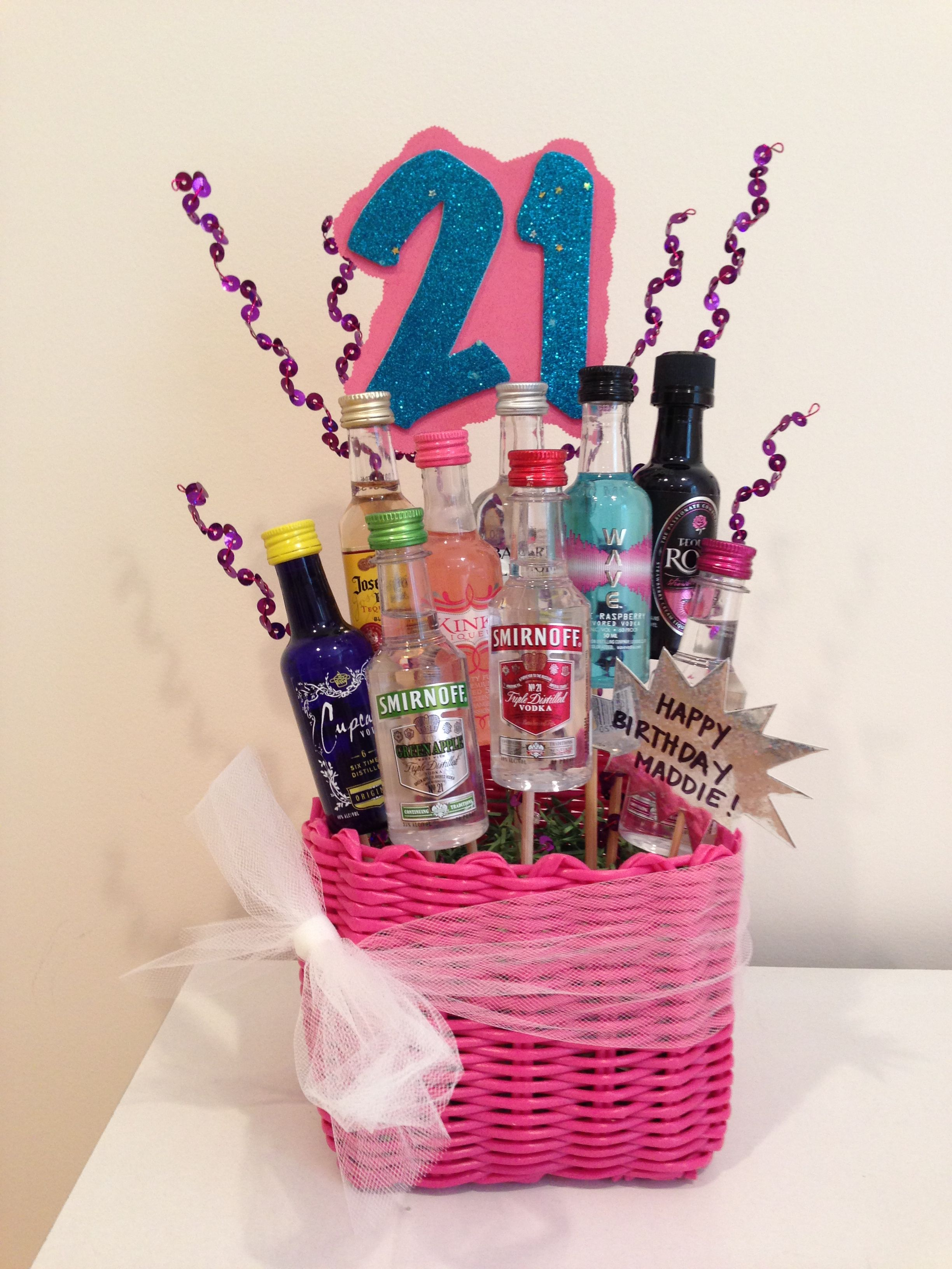 21st Birthday Gift Basket Great Idea Im So Going To Do This For My Sisters Love The Jacket But Hair I Just Dont Get It