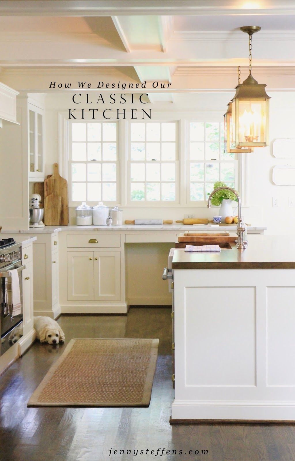 Jenny steffens hobick our classic white kitchen design marble countertops wood island top brass pulls lanterns