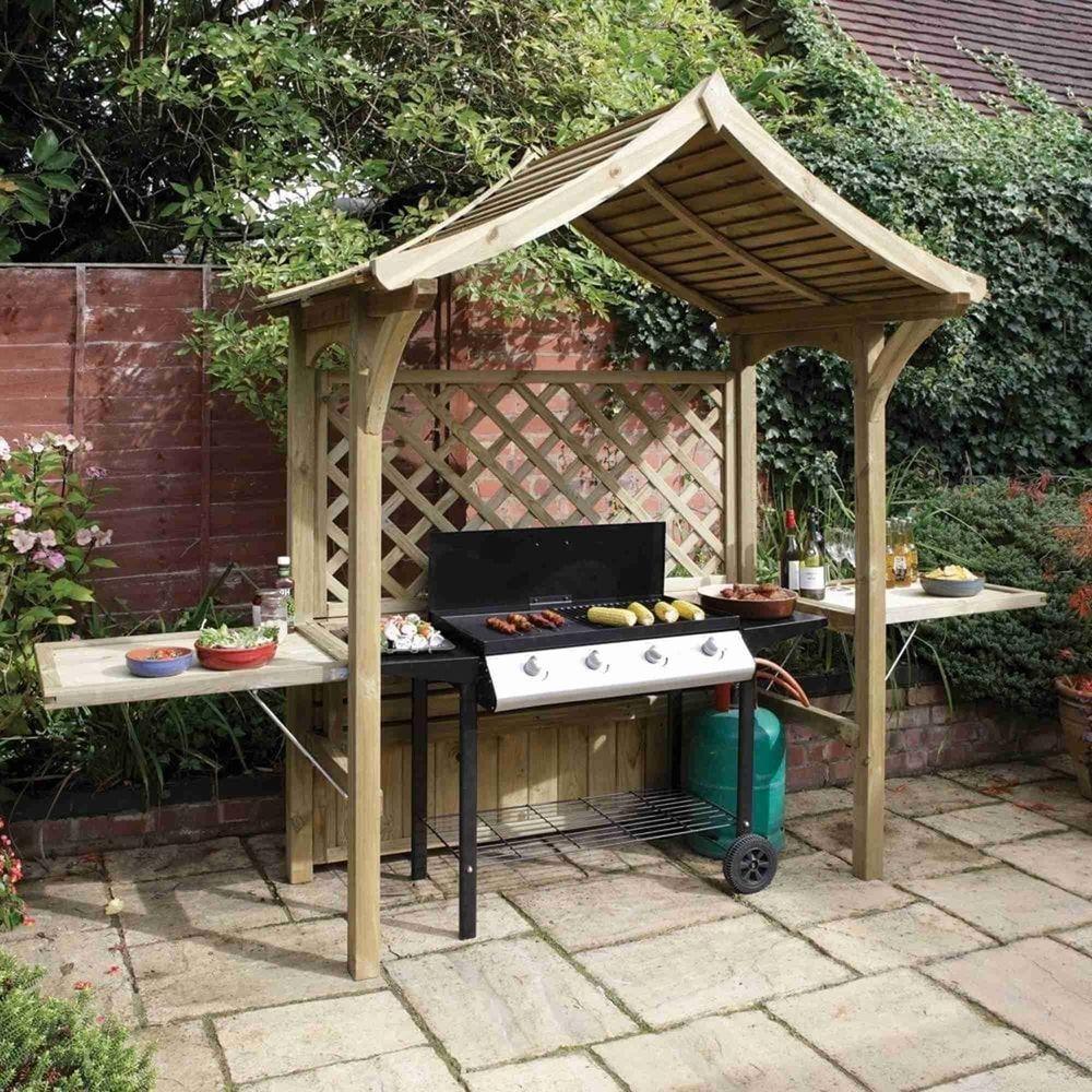 Barbeque Shelter Gazebo Wooden Outdoor Garden Patio Seat Table Panels Fold Shade Grill Gazebo Bbq Gazebo Garden Bbq