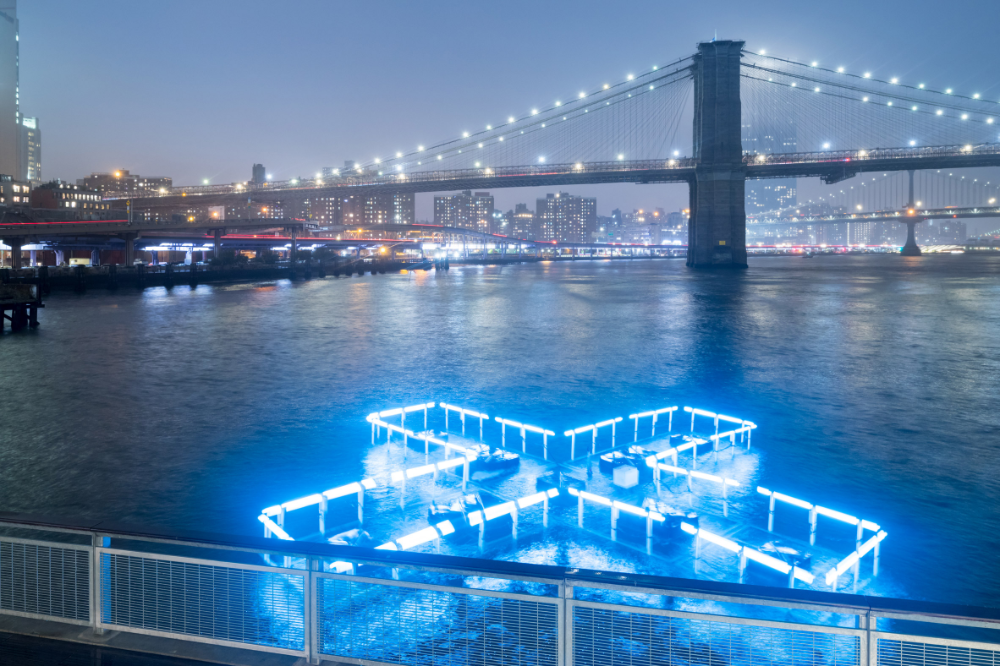 Floating Pool Light Installation Illuminates The East River To Test And Report On Water Quality Pool Light Floating Pool Lights Light Installation