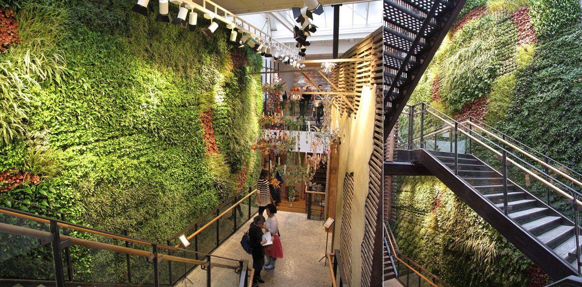 Inside The Anthropologie Store Regent S Street London Green Wall Vertical Garden Green Carpet