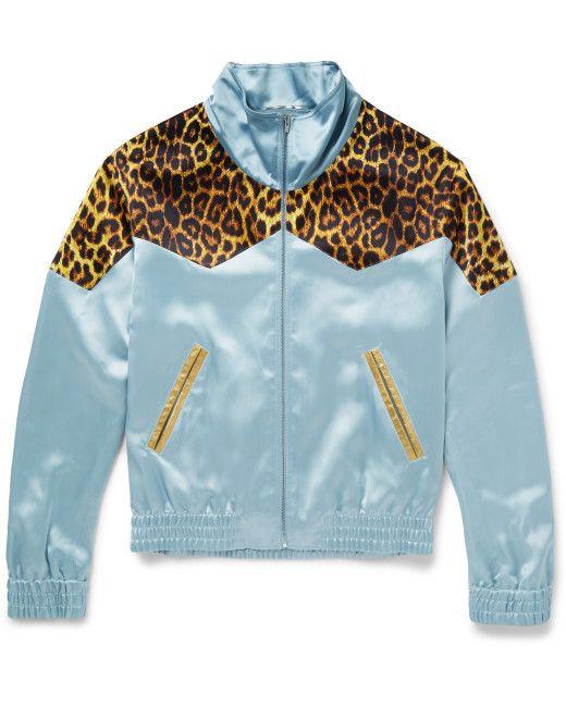 aef56bd08326 Men s Blue Leopard-print Panelled Satin Bomber Jacket