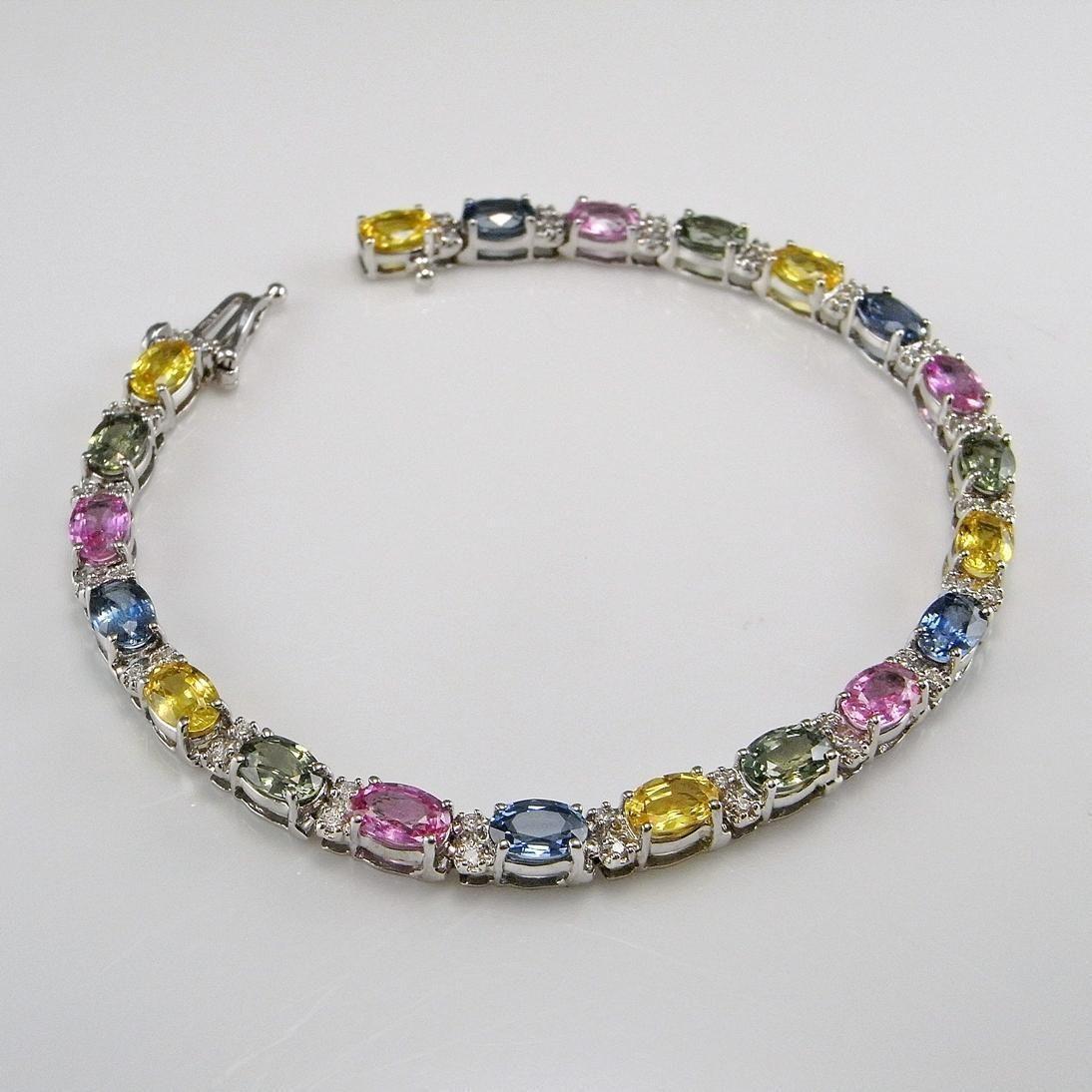 Luxury Fancy Multi Color Natural Sapphire Diamond Tennis Bracelet 14k White Gold Designer Bracelet Blue Y Sparkle Bracelet Blue Bracelet Jewelry Bracelets Gold
