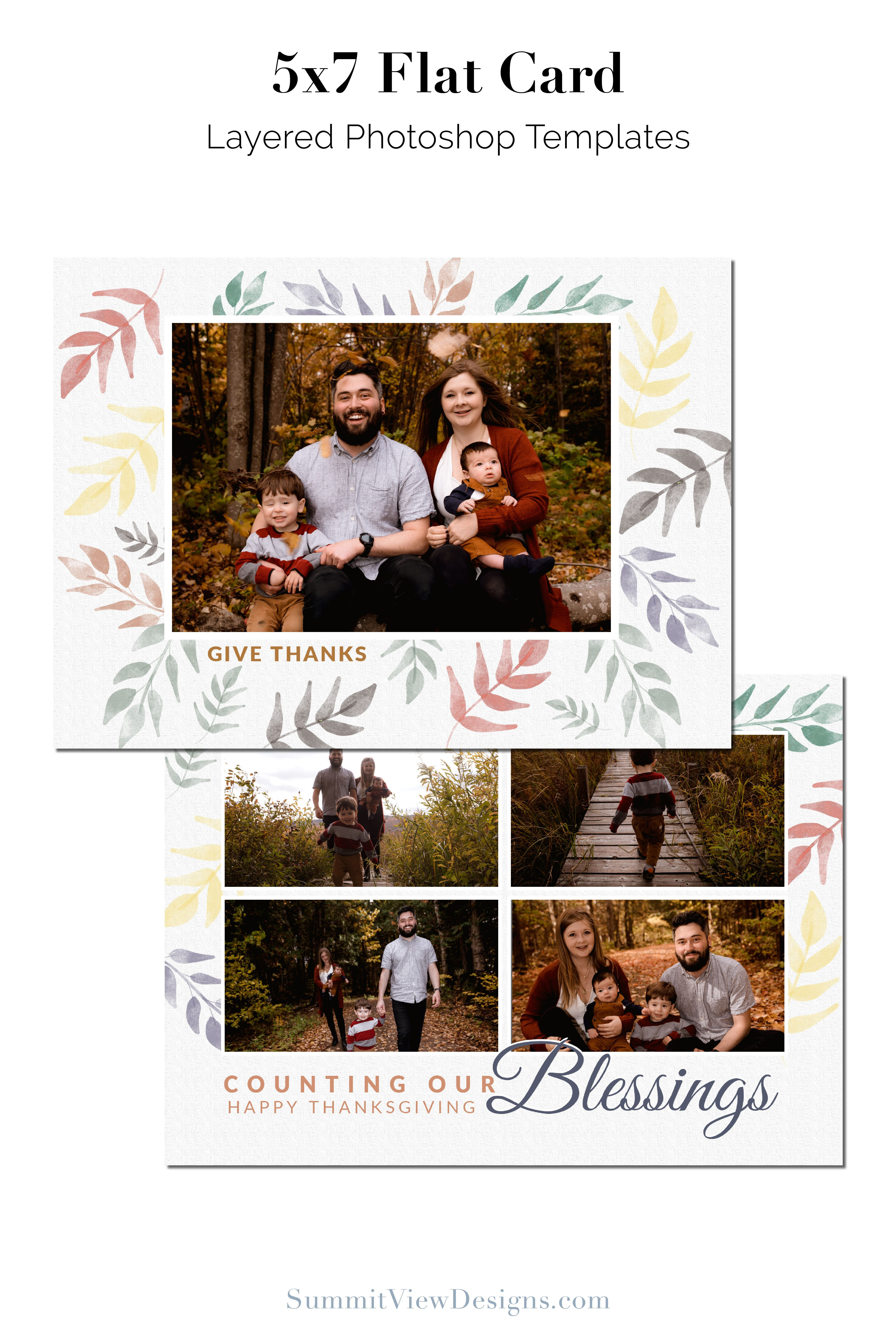 Fall Colors 5x7 Flat Card Etsy Photoshop Template Design Flat Cards Photography Templates