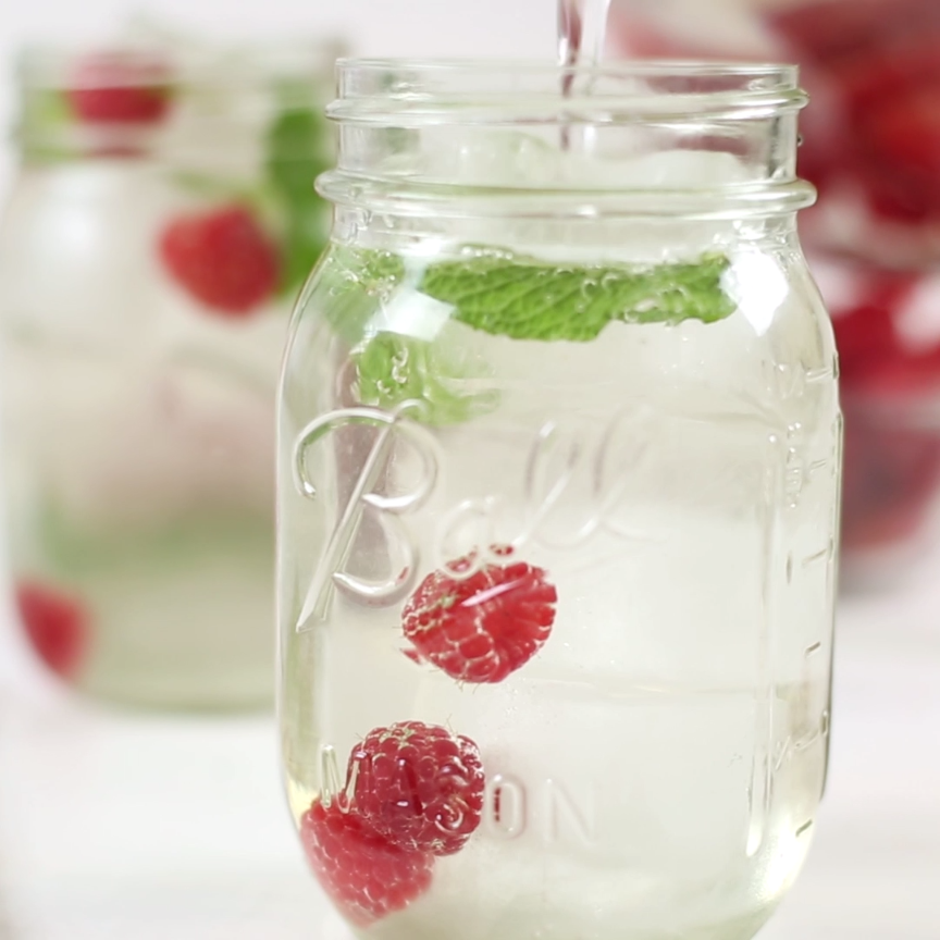 Infuse your water with raspberry and mint for flavors that tickle your tongue without added sugar!