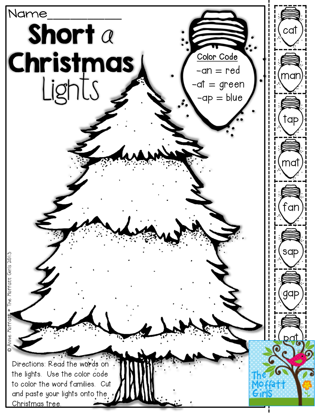 Christmas Bulb Worksheet : Short vowel christmas lights color cut and paste tons