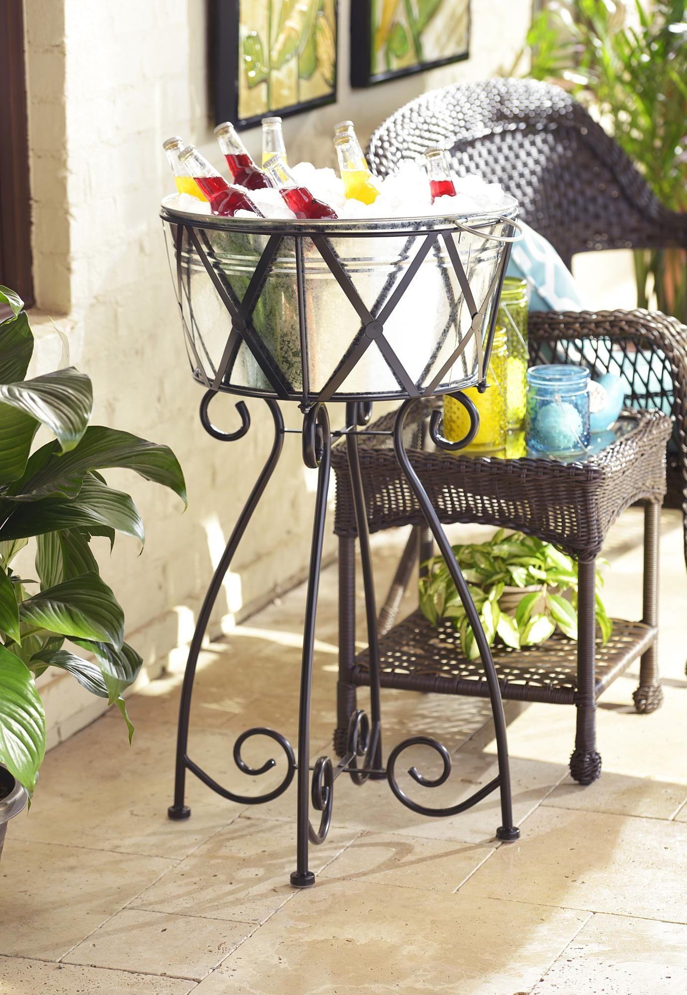 Oasis Galvanized Beverage Tub With Stand Beverage Tub Decor Porch Decorating