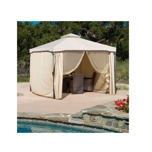 Gazebo Outdoor Canopy Beige Tent Shade 13'x13' Covering Hot Tub #ChristopherKnightHome
