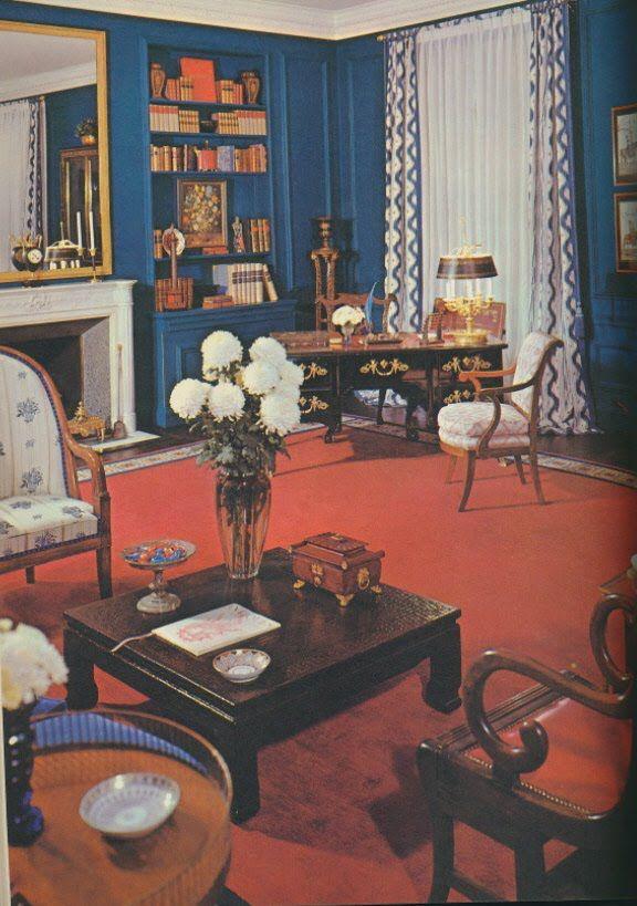 I Love The Blue Walls And The Red Carpet Inside Design Retro Decor Vintage Room