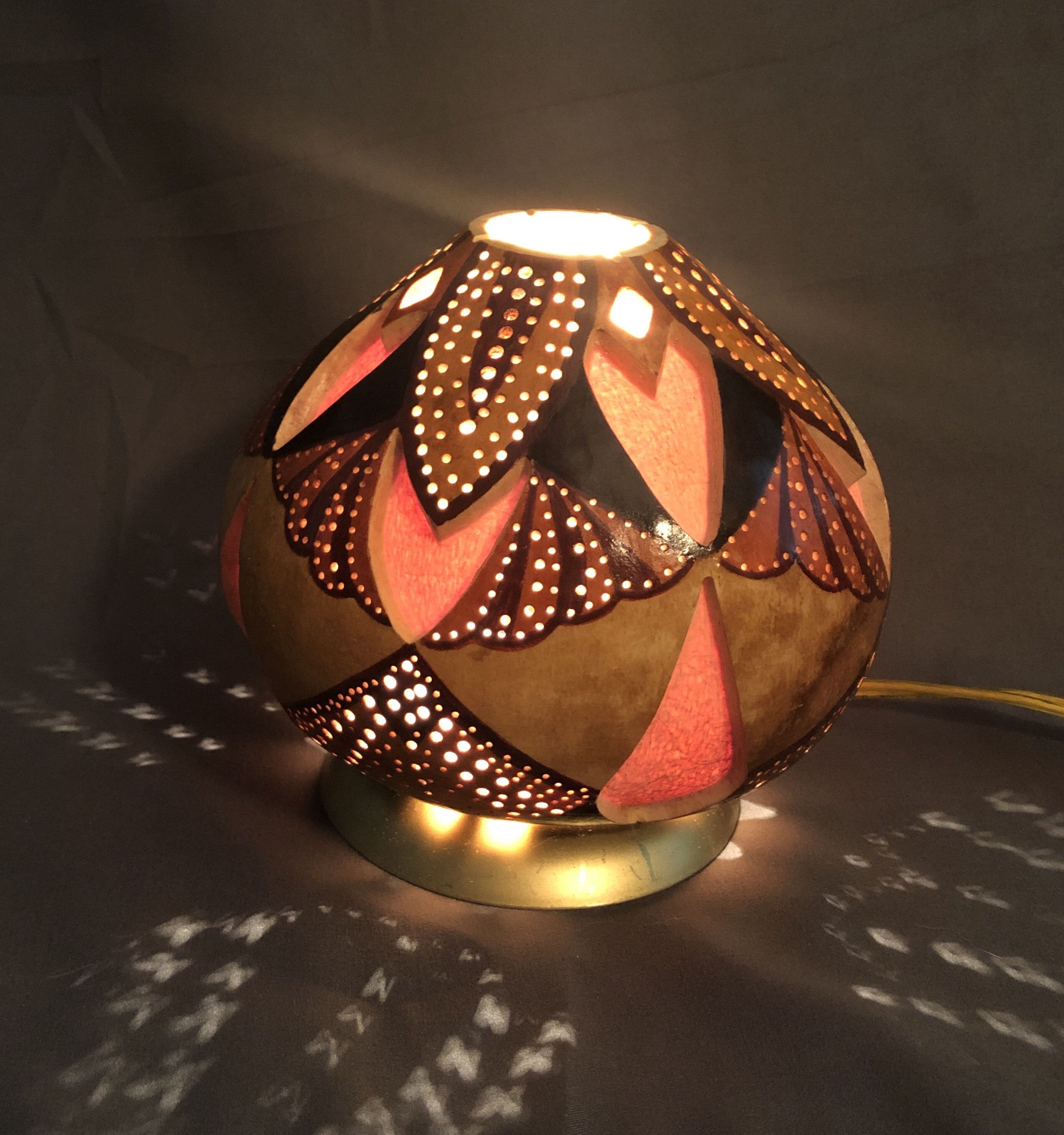 Gourd Night Light With Southwestern Design In A