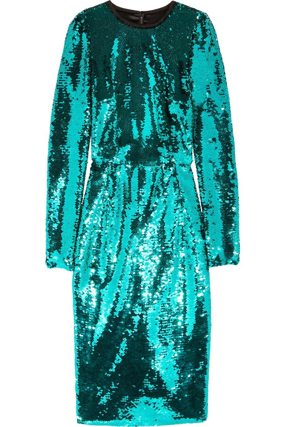 Dolce Gabbana Embellished Dress Metallic Cocktail Dresses Blue Long Sleeve Dress [ 1380 x 920 Pixel ]
