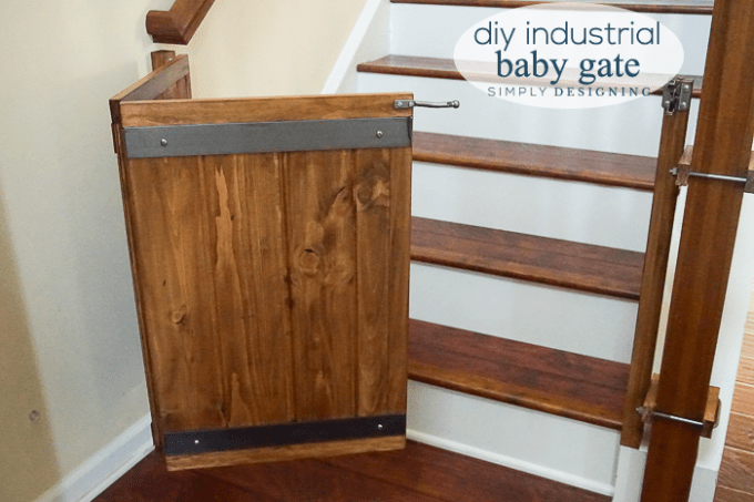 Here S A Complete Tutorial To Learn How To Make A Baby Gate This Industrial Style Diy Baby Gate Is A Great Way To Diy Baby Gate Wooden Baby Gates Diy Dog