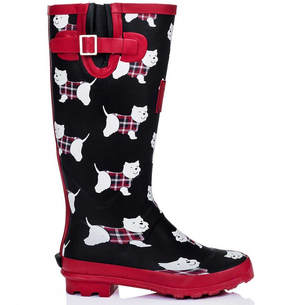 903e123b5d21 IGLOO Knee High Flat Festival Wellies Rain Boots - Westie Dog | Need ...