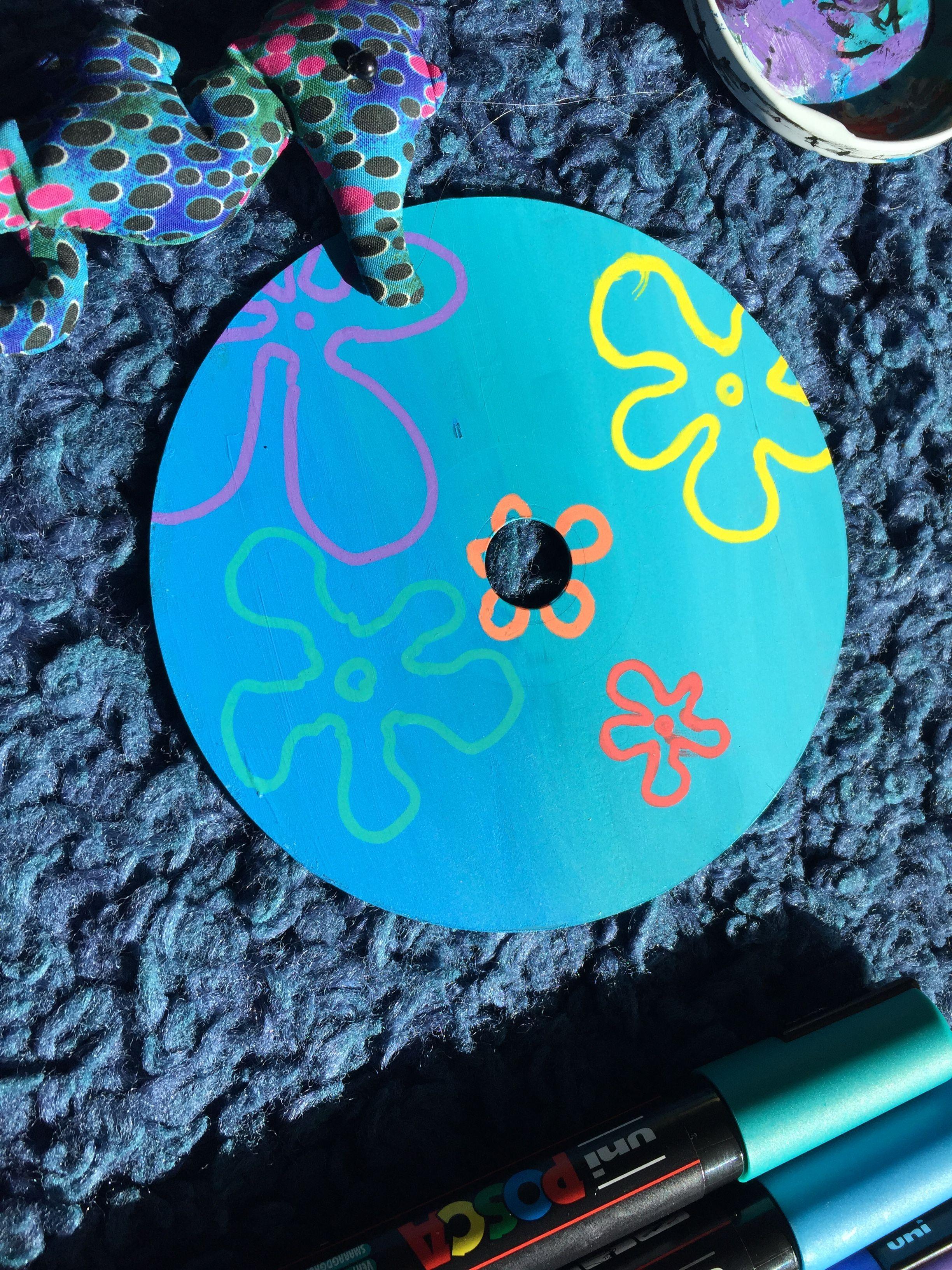 Spongebob Background Flowers CD Painting