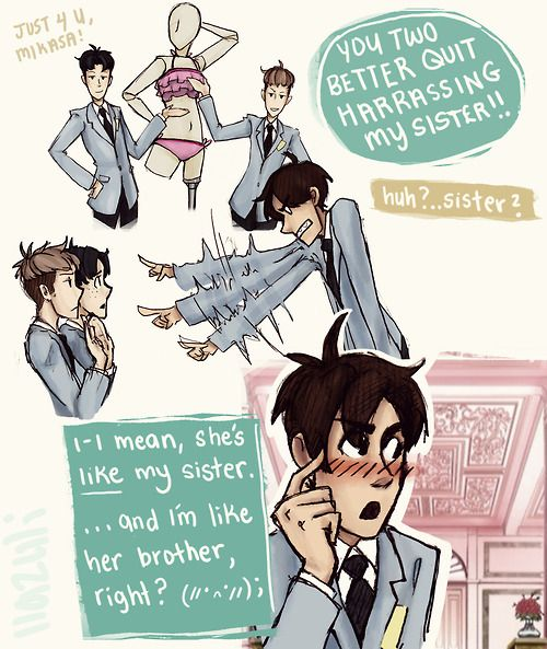 ((Oh look- An Ouran HIgh School Host Club and Attack on Titan crossover- Kiss kiss, fall in blood.))