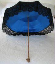 Antique Black Silk Umbrella Lace Trim