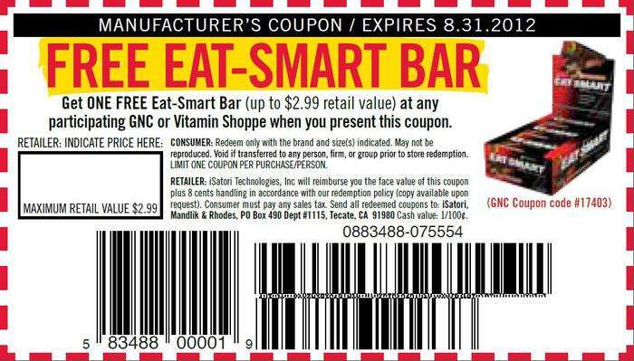 gnc or vitamin shoppe free printable coupon for a free eat smart bar exp