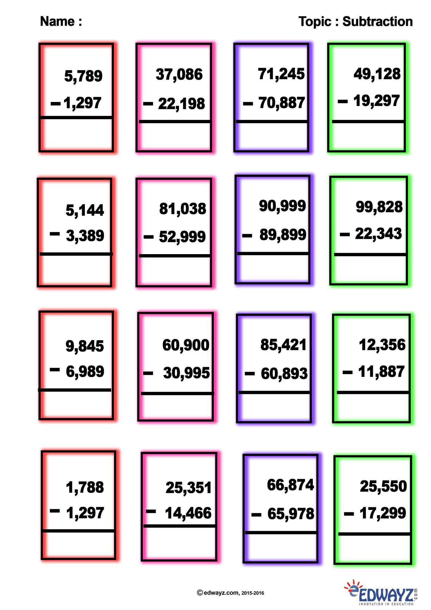 Edwayz Class4 Math Subtraction In