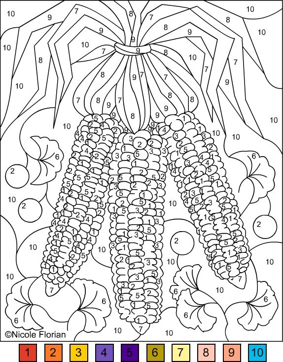 COLOR BY NUMBER * INDIAN CORN&GINKGO BILOBA * COLORING PAGE ...
