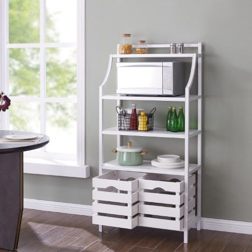 Socul White Bakers Rack W Storage White Bakers Rack Small