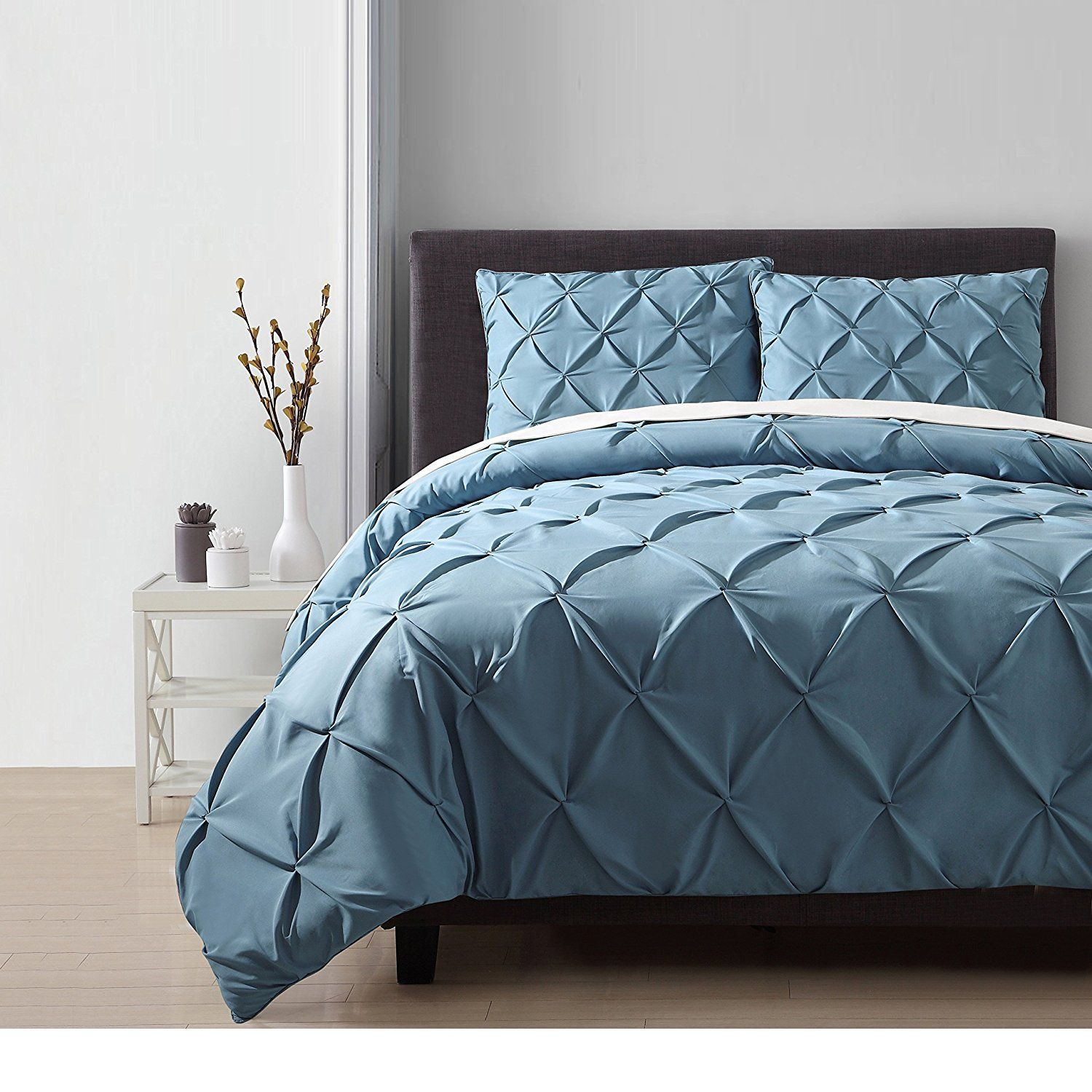 Queen Blue Pinched Pleat forter Set Royal Pretty Beddind