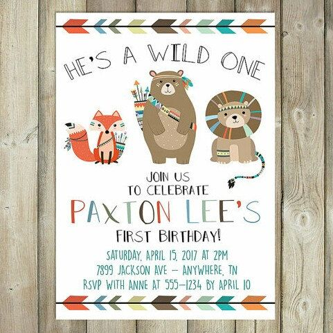 wild one first birthday party invitations diy tribal invitations, Wedding invitations
