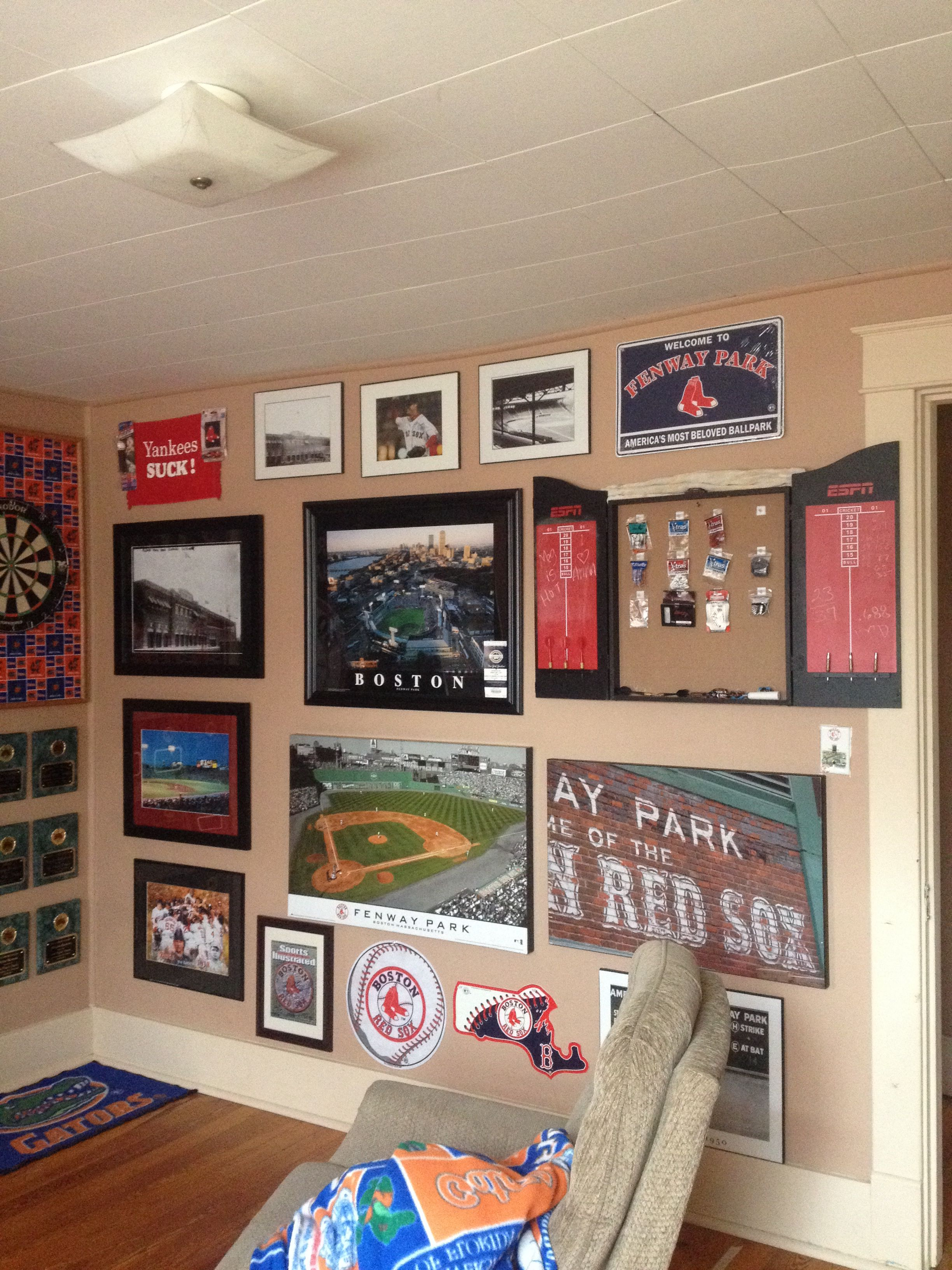 The Boston Red Sox wall in my hubby's man cave! Man cave