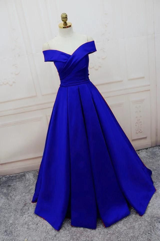 item:off the shoulder long satin formal dress color:burgundy/royal ...