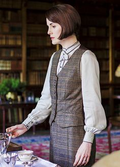 Downton Abbey's Lady Mary's 1920s country attire- blouse, vest and skirt. So elegant and practical for a woman with a purpose.