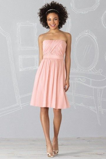 robe demoiselle d 39 honneur bustier courte en mousseline rose bapt me pinterest une ligne. Black Bedroom Furniture Sets. Home Design Ideas