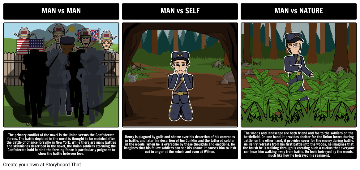 The Red Badge Of Courage By Stephen Crane Literary Conflict Having Students Create Storyboards That Show The Cause Man Vs Nature Courage Literary Conflicts