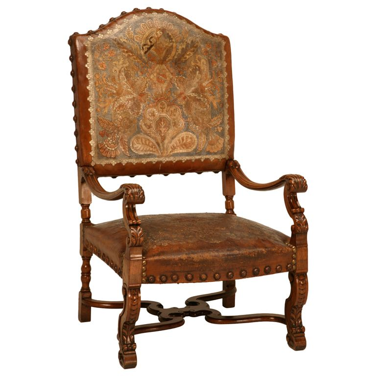 Carved Antique Throne Chair w/Original Tooled & Painted Leather | From a  unique collection - Antique Armchair With Original Tooled And Painted Leather Throne