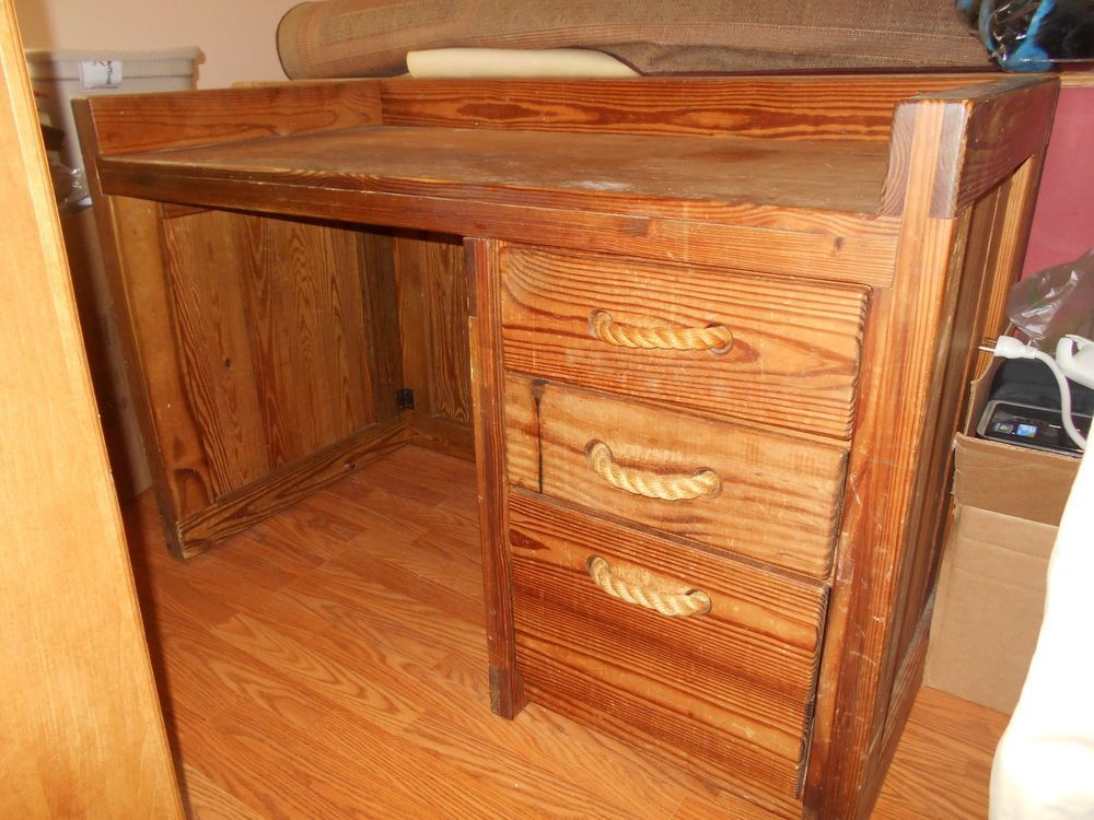 Solid Honey Pine Desk W/3 Drawers U0026 Rope Handles~This End Up~ Amazing Pictures