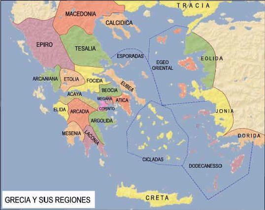 Mapa Politico De Grecia.Mapa De Grecia Y Sus Regiones Grecia Antigua Grecia Y