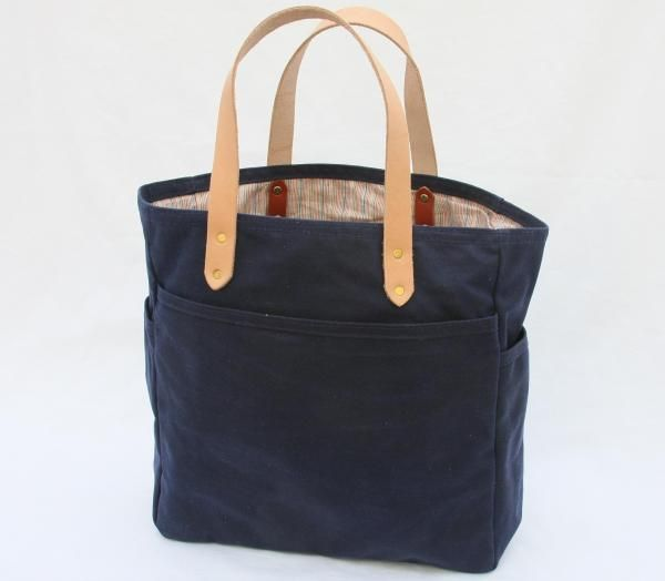 Navy Waxed Canvas Tote Bag | Bags | Pinterest | Canvas tote bags