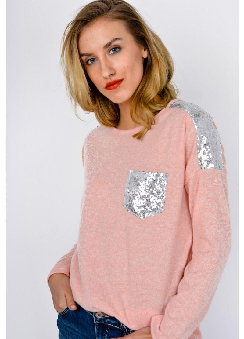 9d66fa523074fb Miękki i stylowy sweter bluzka z cekinami, Ona Odzież Bluzki długi rękaw |  Sukienki.