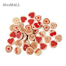 Hoomall Brand 50PCs 20mm Heart Wooden Buttons Mixed Heart Pattern Decorative Buttons 2-Holes Fit Sewing Scrapbooking Craft DIY(China (Mainland))