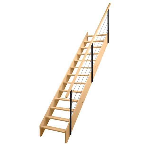 Escalier Droit Uno Sapin Massif Rampe Câbles Lapeyre