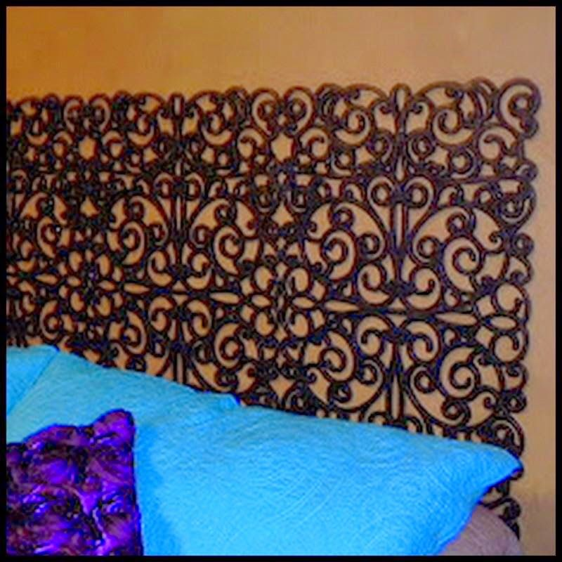 Dollar store crafter faux iron headboard from door mats for Fake headboard