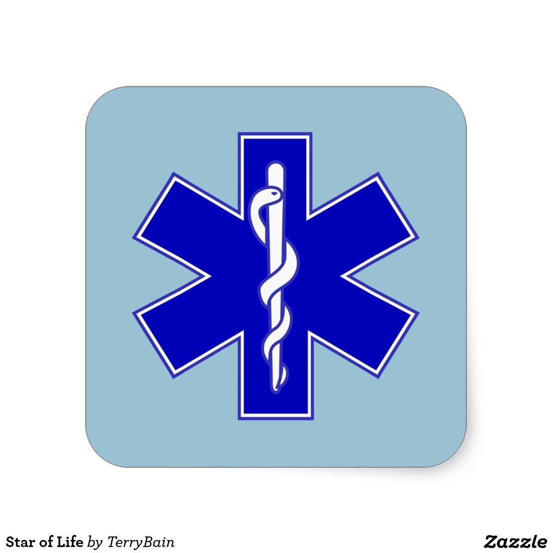 Star Of Life Square Sticker Zazzle Com Emt Paramedic Logo Sticker [ 1104 x 1104 Pixel ]