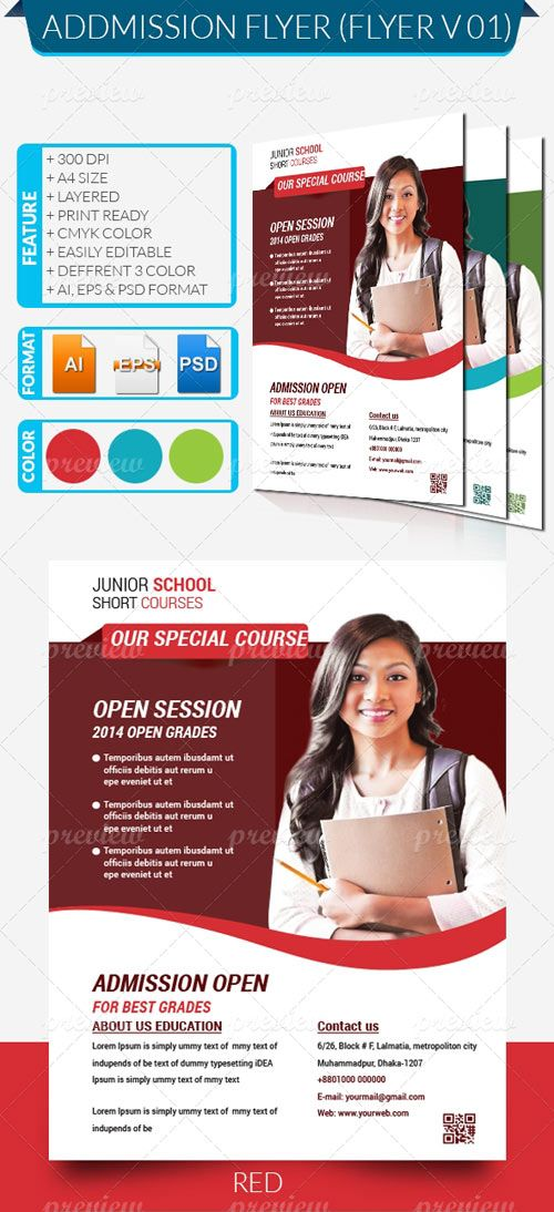 Download Free Admission flyer PSD | Free Graphics | School