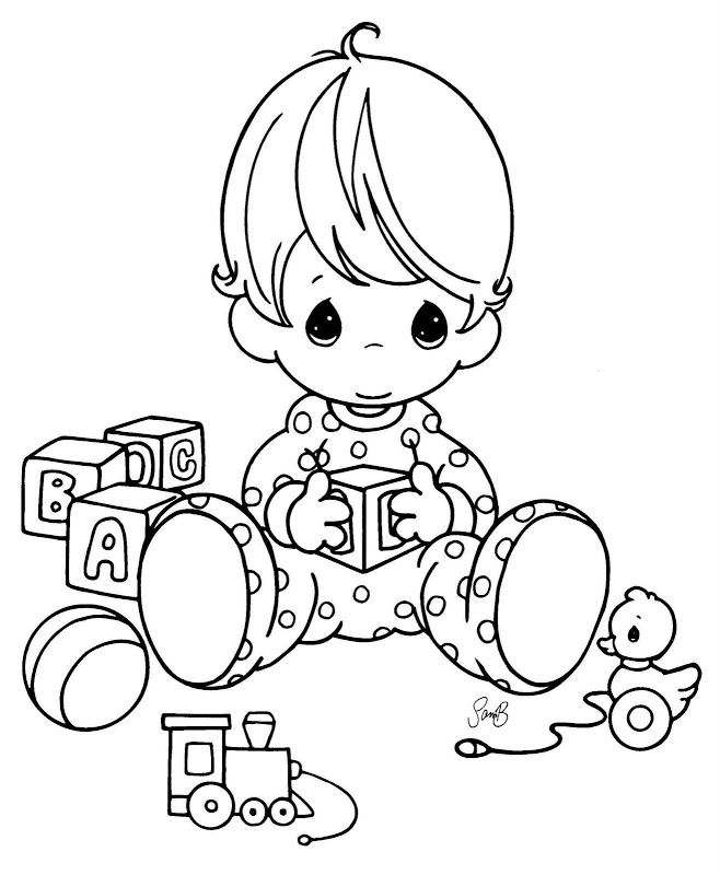 Coloring Pages: Baby playing with cubes–precious moments coloring ...