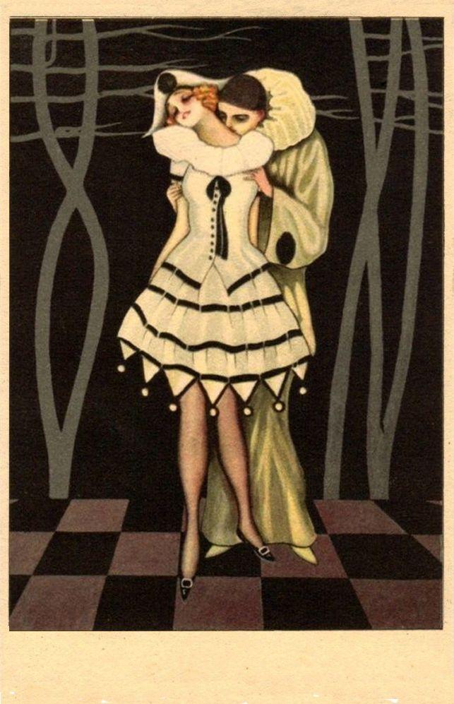 Vintage mid century modern maio litho print harlequin big eyes girl boy framed
