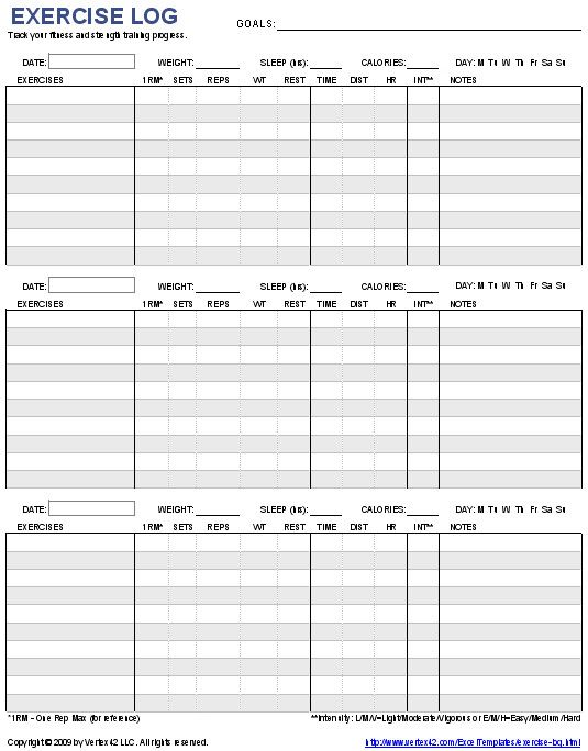 Three day workout example to optimize muscle groups split Self - workout sheet